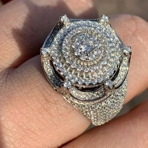 Harlembling 925 Silver 5ct King Crown Diamond Ring